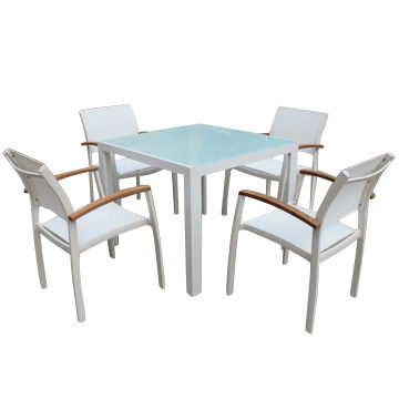 Garden leisure table set with aluminum glass top textilene sling 4 china garden leisure table set with aluminum glass top textilene sling 4 chairs workwithnaturefo