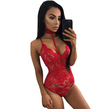 ba34d617141 China Hot Red Sheer Lace Choker Neck Teddy Lingerie