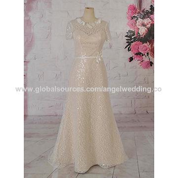Wedding dress, french lace, plus size, short sleeves ...