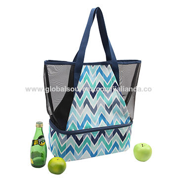 34f412934538 China Mesh beach bag with insulated cooler bag compartment on Global ...