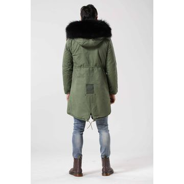 China Long style men's fur coat with black raccoon hooded