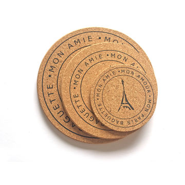 China Cork Trivets or Coasters with Silk Screen