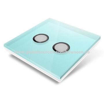 China Smart Home Wireless Light Switch, Turquoise Glass Panel, 4 Gang