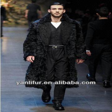 Long black coat with black fur collar