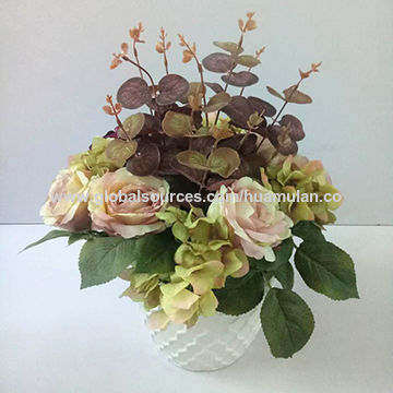 Fall Season Vintage Artificial Flowers Mixed Arrangement In White