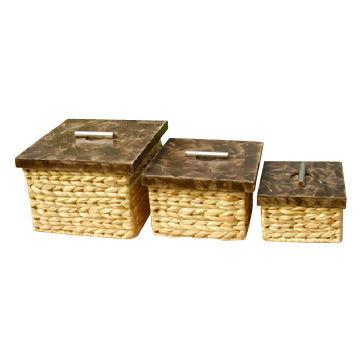 Water Hyacinth Square Storage Boxes Vietnam Water Hyacinth Square Storage  Boxes