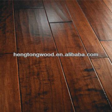 China Hardwood Flooring Artisan Stained Sculpted Rustic Variable Width Planks Color