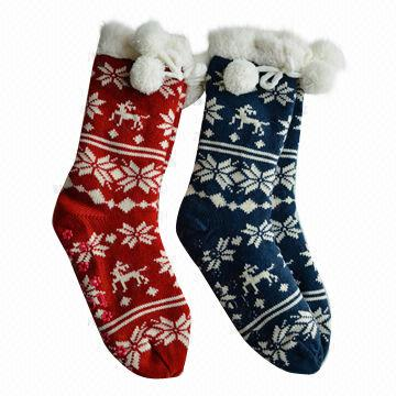 Ladies' Nordic Fairisle Reindeer Socks, Upper made of 85% Acrylic ...