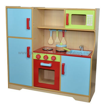 China Kids Wooden Pretend Kitchen Made Of Natural Color Plywood And Solid Wood