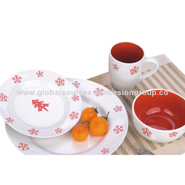 ... China Elegant 4-piece Christmas Snowflake Stoneware Dinnerware Sets  sc 1 st  Global Sources : snowflake tableware - pezcame.com