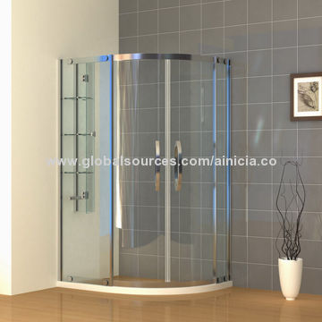 China Tempered Glass Quadrant Shower Enclosure With Stainless Steel  Frame/Handle/Sliding Door +