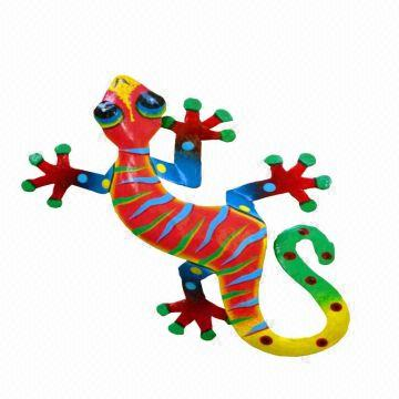 Metal Gecko Wall Decoration. Hand painted gecko. Home and garden ...