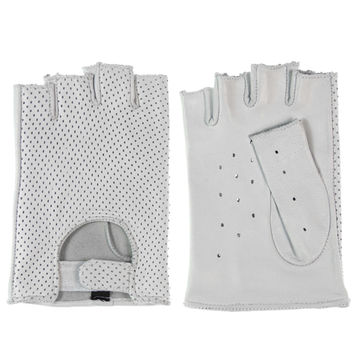 China White color fashion driving leather gloves