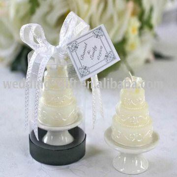 Wedding Gift Of Wedding Cake Candle On Elegant Porcelain Pedestal In