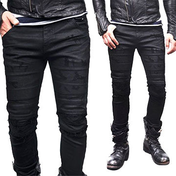 ad3f2b9a868 Seaming Damage Skinny Black Biker Jeans(LOTG031) | Global Sources