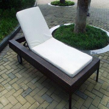 Outdoor Wicker Rattan Chaise Lounge Chair Sleeping
