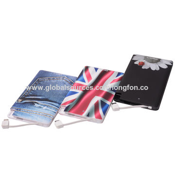 China Customized picture power bank 4000mAh card power bank with built-in cable portable power banks