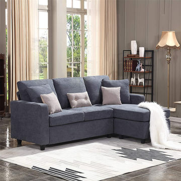 China Modern Linen Fabric Adjust Chaise, Large Linen Fabric Sectional Sofa With Left Facing Chaise Lounge