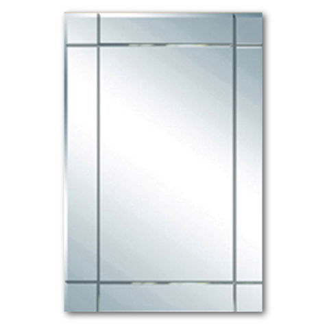 China Vanity Bathroom Mirror With Beveled Edge And V Groove Etched Finish