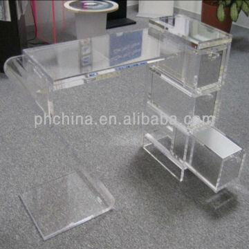 China Jad-269 Crystal Lucite Acrylic Office Desk,acrylic Desk with  Drawers,plexiglass