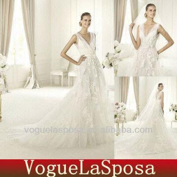 Lace V Neck And Low Back Elie Saab Wedding Dress Vwd3014 Global