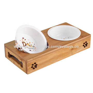 Wooden dog feeder