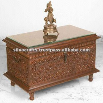 India Wooden Hand Carved Trunk Table(Carved Furniture From India)