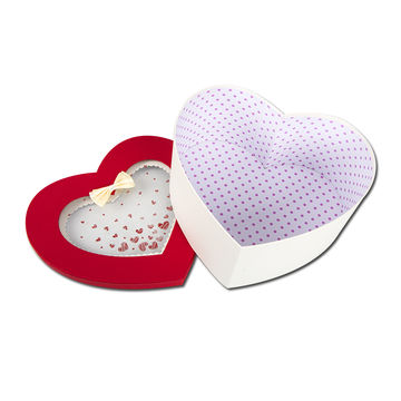 China New Valentine Design Rigid Gift Boxes with PET window, Customized Sizes Welcomed