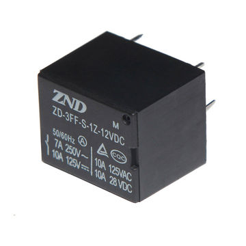 China Electromagnetic Relay 3FF(T73) 7A 12V A 4Pin Silver Contact Black Cover Relay