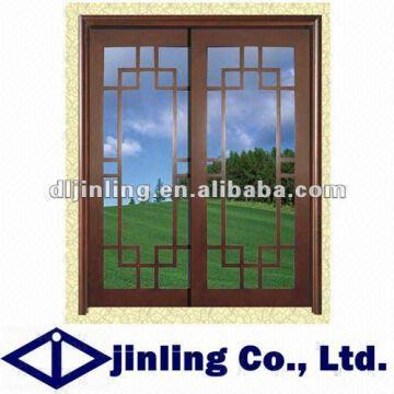 Wooden Clading Aluminum Window Burglar Designs With Steel Grill