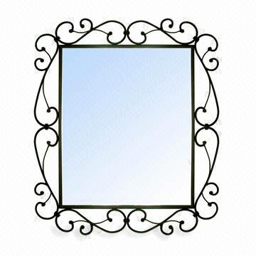 China 4mm Beveled Metal Framed Mirror With Black Paint Finish Measures 668 X 568