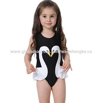 877e45608f8 China Classic cute white swan printing black girls' swimwear on ...