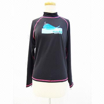 Rash Guard in Black, Made of 65% Recycle Polyester + 25