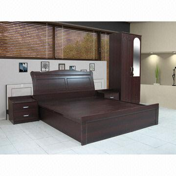 China Bedroom Set, 1500x1900mm, Available In Black Walnut Color, Made Of  MDF And