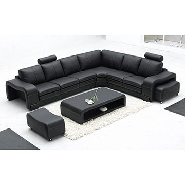 Black Color L Shape Leather Corner Sofa for Furniture Al330 | Global ...