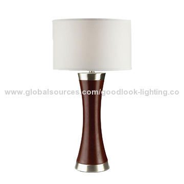 Table Lamp Made Of Iron Wood With Cherry Brushed Nickel Finish