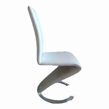 China Z Shaped Dining Room Chair With C Chrome Feet White PU