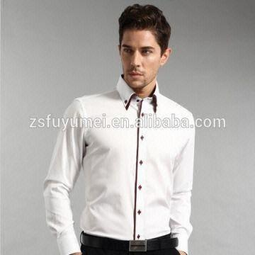 Double collar button-down collar men's dress shirts, Italian style ...