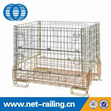 Collapsible stacking metal wire mesh pallet container with wheels ...