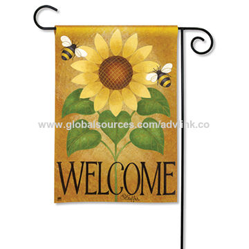 China Waterproof and durable advertising display garden flag with full color printing