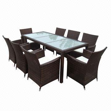 China rota 9-piece/silla de mesa de comedor de mimbre encendido ...