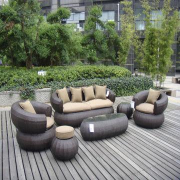 Outdoor Rattan Sofa Set with Single Sofa, 3 Seater Sofa, Ottoman ...