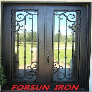 Flat Forged Iron Double Entry Doorswrought Iron Door Factory Made