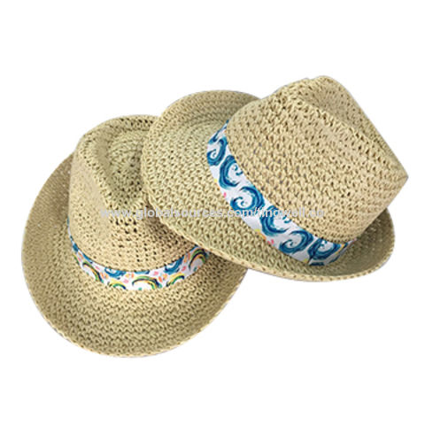 a75e9ce1 China 100% Straw Paper Fedora Hat Summer Beach Hat on Global Sources
