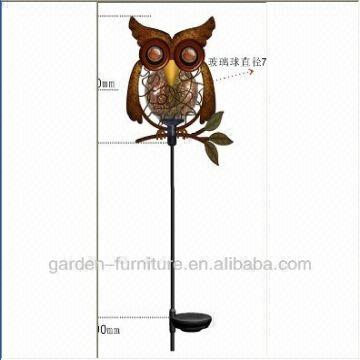 China Animal Decoration Garden Stakes Glass Ball Cute Owl