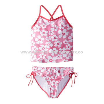75c0bb521 China Girl's tankini with flower printed,crisscross back strap,tie ...