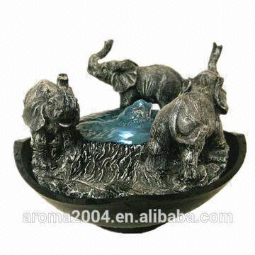 ... China Interior Decoration Elephant Water Fountain  Tabletop Elephant  Sculpture  20X20X15.5CM  Polyresin