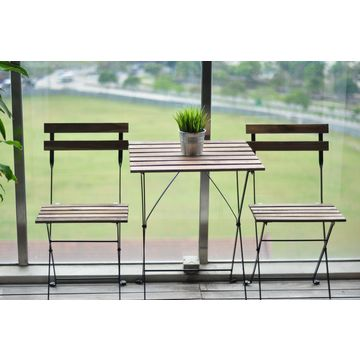 Vietnam 3 Piece Foldable Outdoor Patio Furniture Bistro Style Table And Chair Set