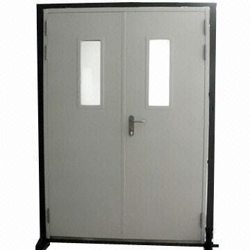 Fire Rated Double Steel Door With View Window And 30 45