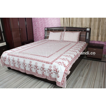 ... India Flower Print Bed Sheets, Indian Handmade Decorative Block Design,  Made Of Cotton Fabric ...
